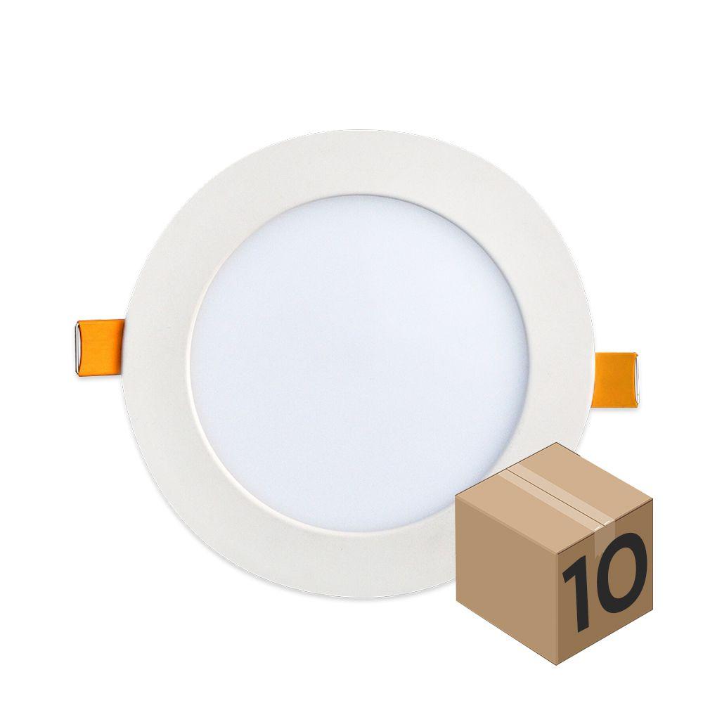 Kit 10 Luminaria Plafon Led Redondo de Embutir Branco Quente 12W