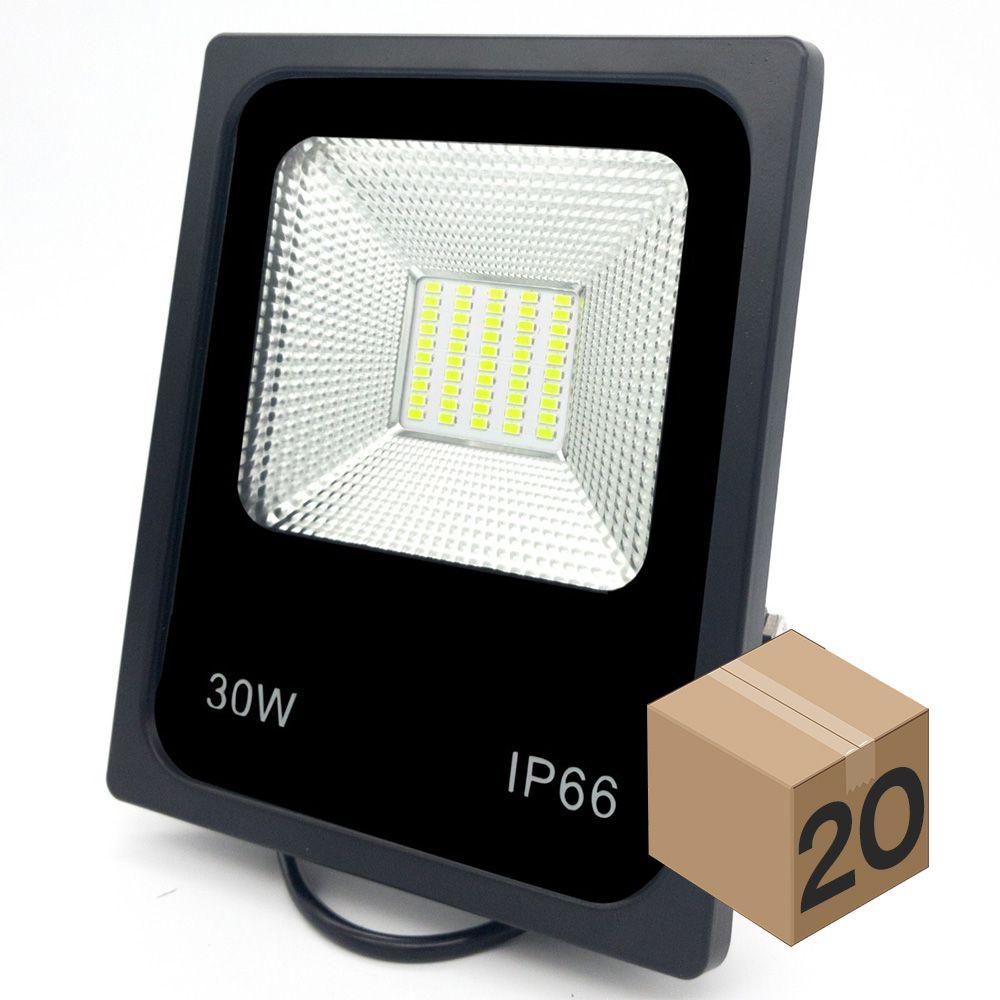 Kit 10 Refletor de Led 30W Slim Branco Frio