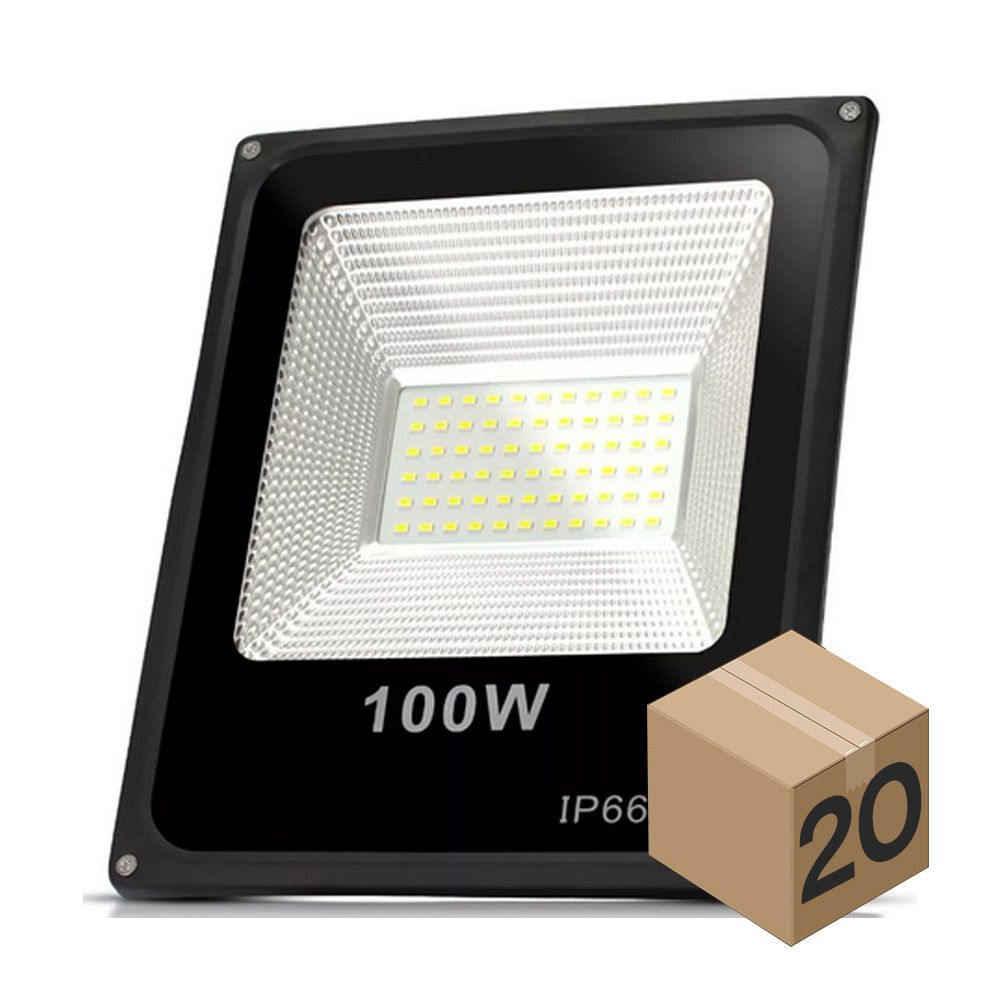 Kit 5 Refletor de Led 100W Slim Branco Quente