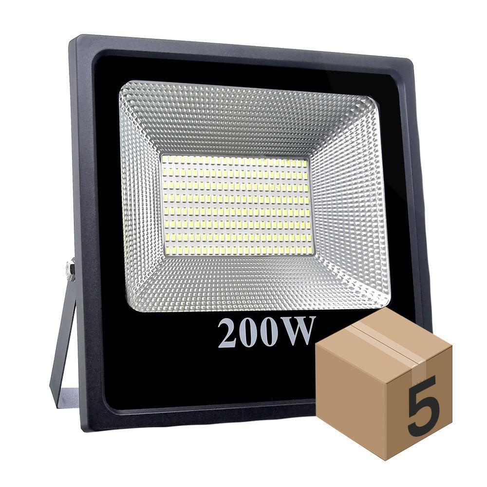 Kit 5 Refletor Refletor de Led 200W Slim Branco Frio