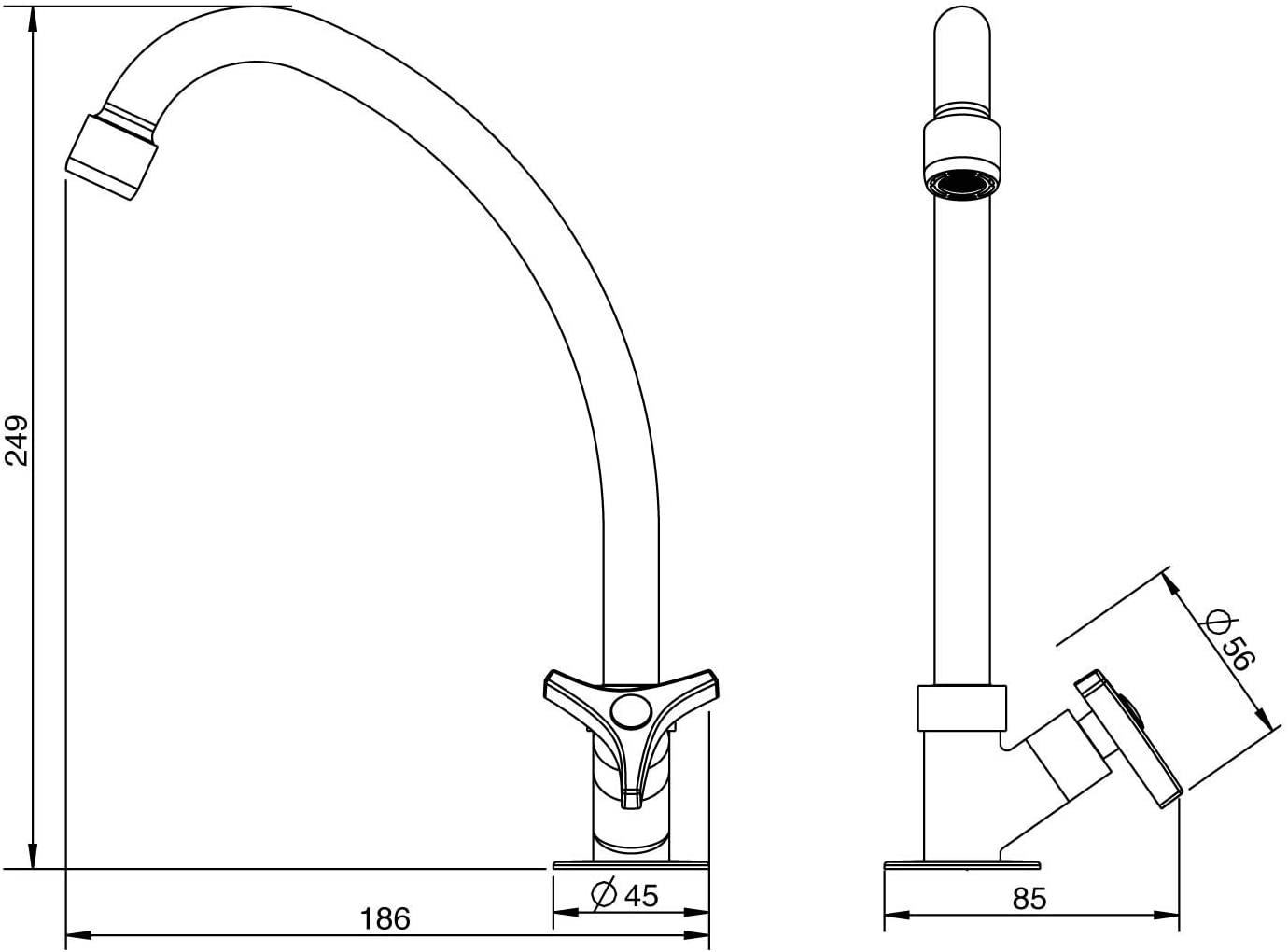 Torneira de Mesa Para Cozinha Bica Móvel WAY 1167 C30 Lorenzetti