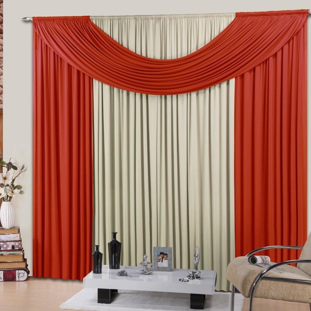 Cortina de Malha Corta Luz Espanha 2,00m x 1,70m Vermelho Casa Dona