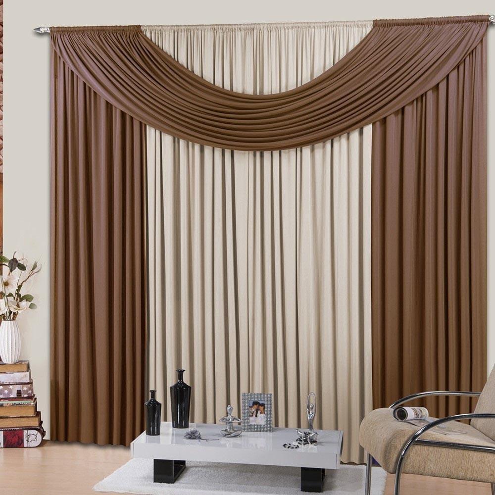 Cortina Sala ou Quarto Brown Candy Soft Clean 300x280cm Casa Dona