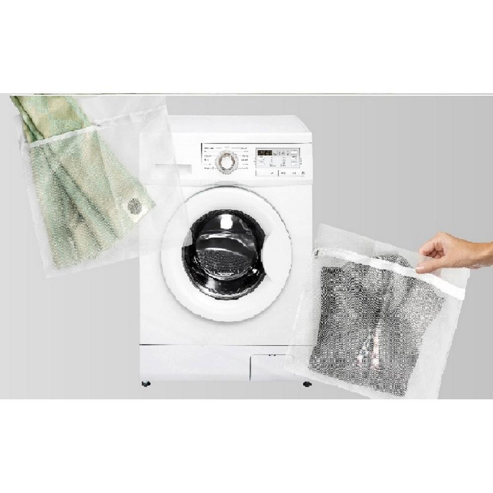 Kit de 2 Sacos de Tela Protetora para Lavar Roupas Tamanhos P e M Branco Casa Dona