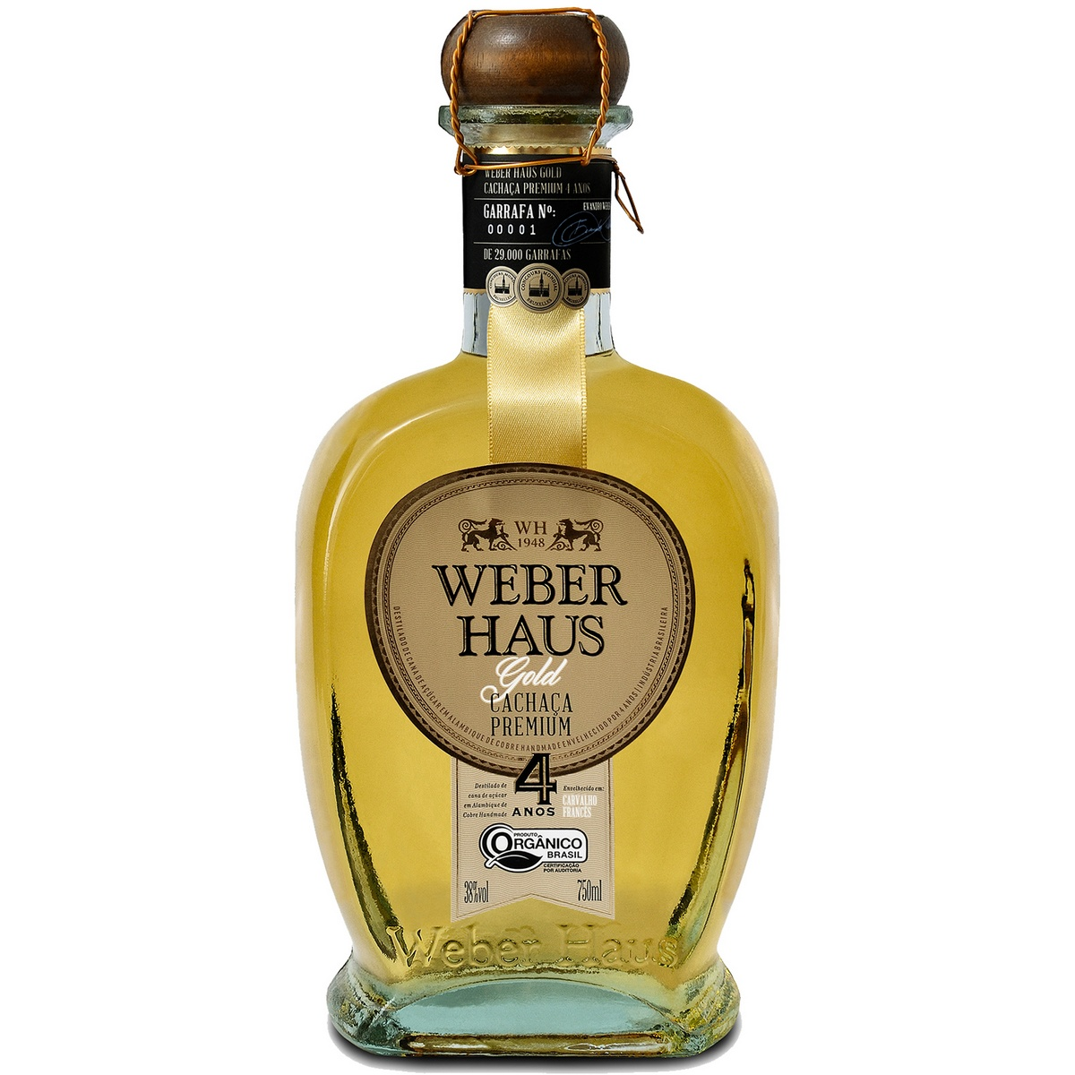 Cachaça Weber Haus Premium Gold Orgânica 4 Anos 750ml