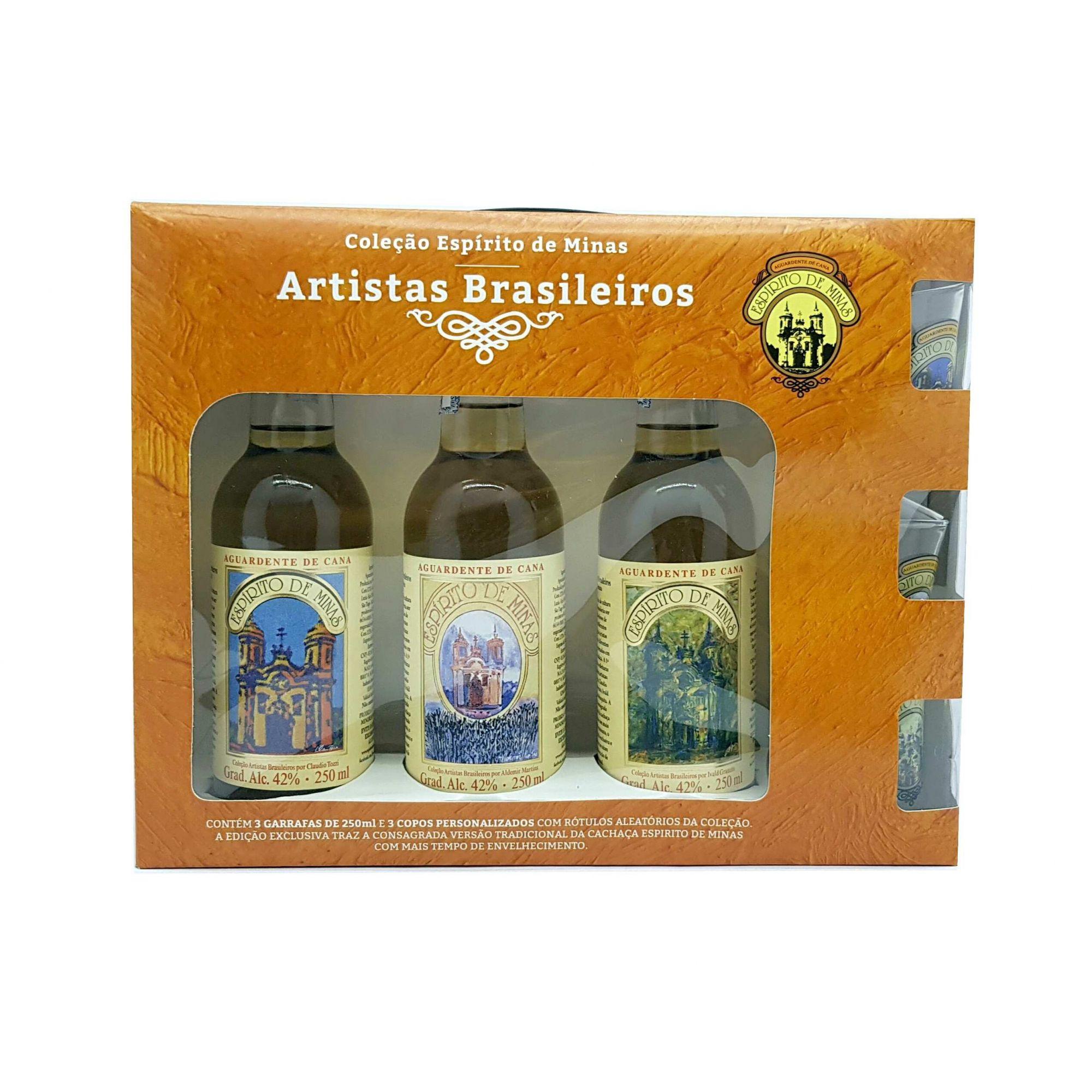 Kit Cachaça Espirito de Minas Artistas Brasileiros 250ml