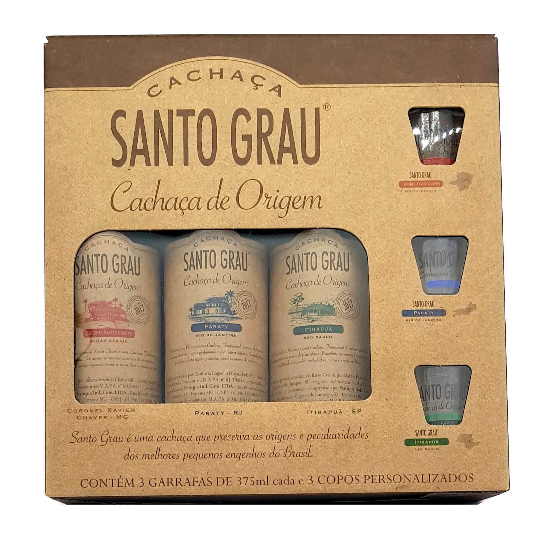 Kit Cachaça Santo Grau C/ 3 Garrafas 375ml