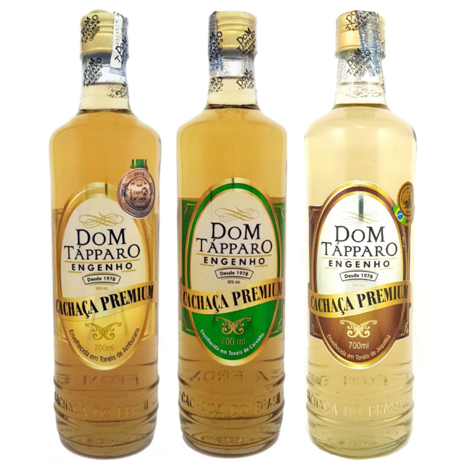KIT Premium Dom Tápparo com 3 Cachaças (Amburana, Carvalho e Jequitibá) 700ml