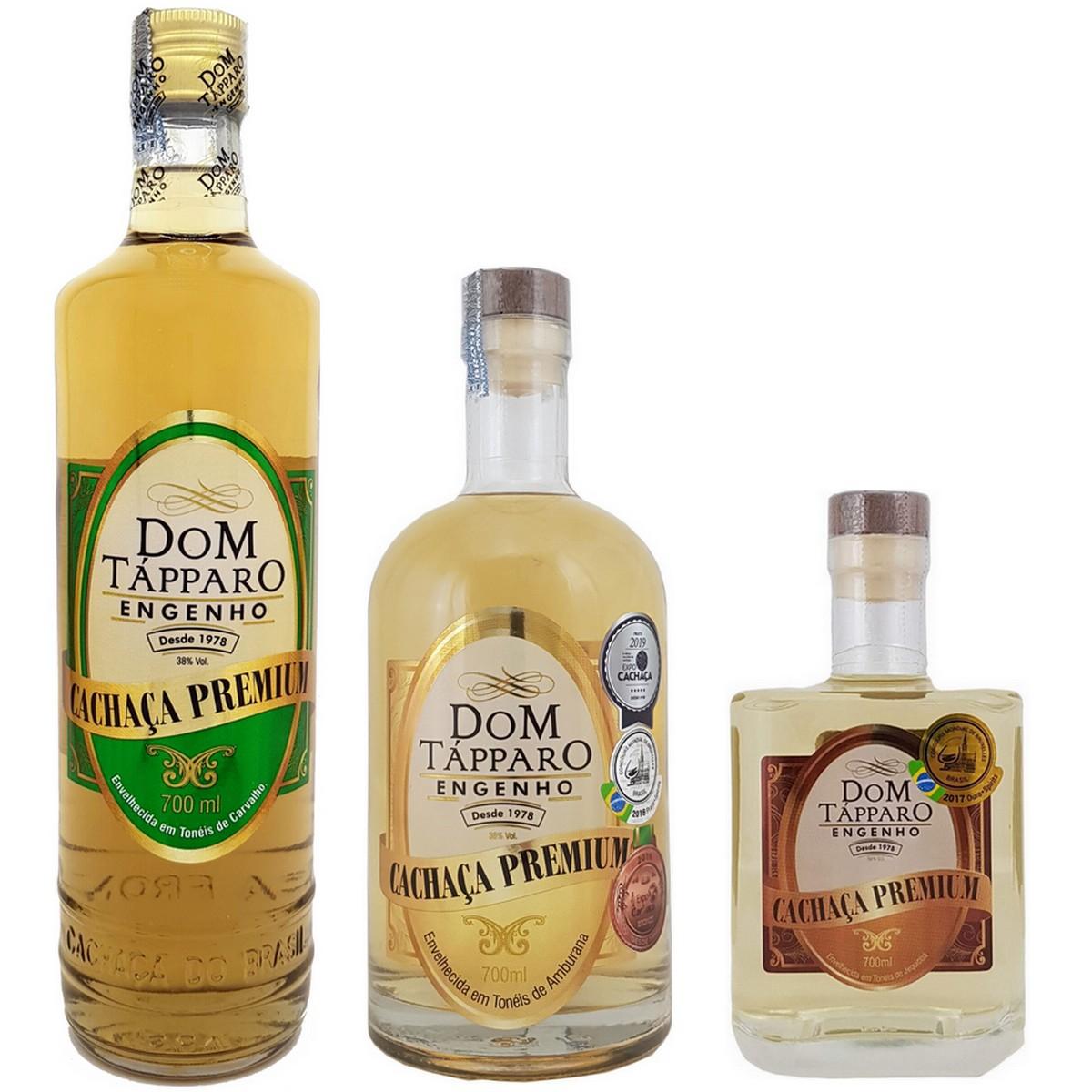 KIT Premium Dom Tápparo com 3 Cachaças (Carvalho, Amburana e Jequitibá) 700ml