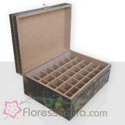 Caixa em MDF para 35 Florais - Fundo Preto