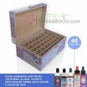 Caixa em MDF para 40 Florais - Estampa Patchwork Lilás