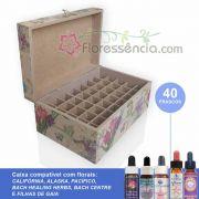 Caixa em MDF - 40 Florais - Para florais da Califórnia, Alaska, Pacífico, Bach Healing/Centre e Filhas de Gaia