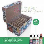 Caixa em MDF para 40 Florais - Para florais da Califórnia, Alaska, Pacífico e Bach Healing Herbs