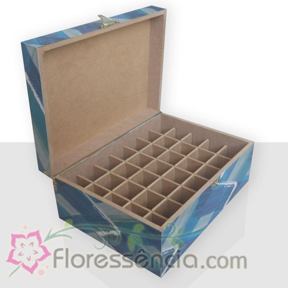Caixa em MDF para 35 Florais - Azul  - Floressência
