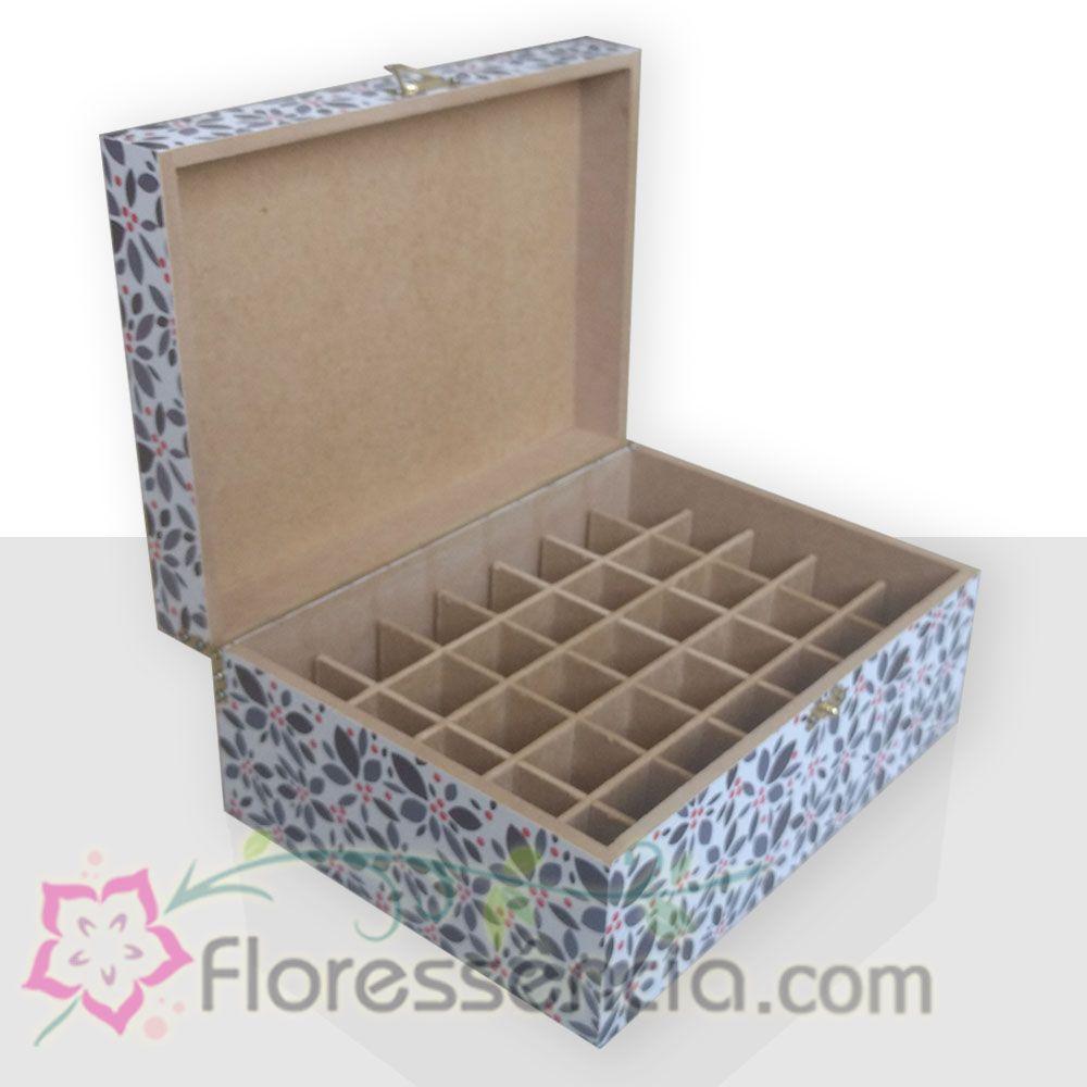 Caixa em MDF para 35 Florais - Fundo Branco  - Floressência