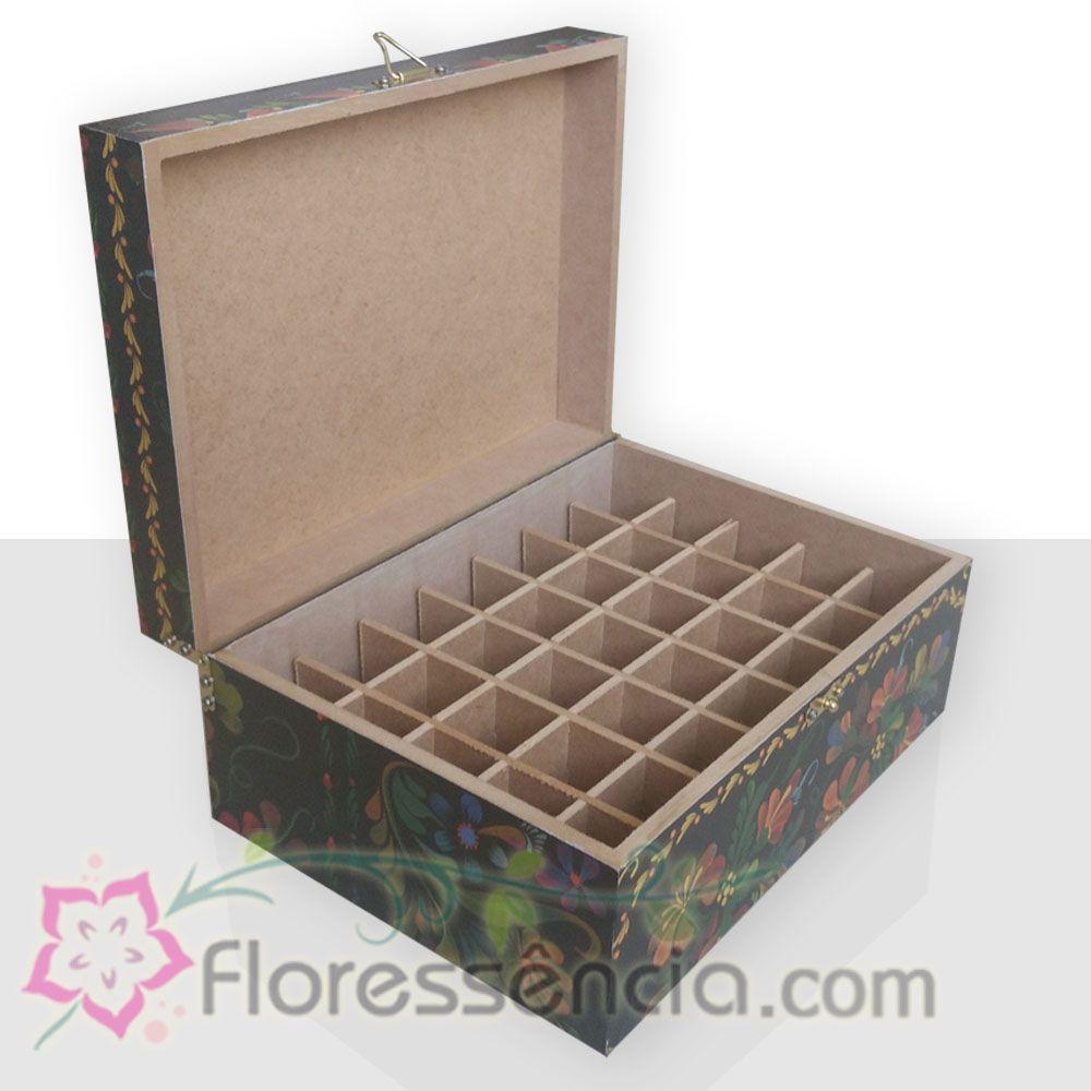 Caixa em MDF para 35 Florais - Fundo Preto  - Floressência