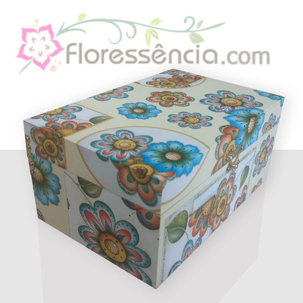 Caixa em MDF para 40 Florais - Estampa com Fundo Amarelo  - Floressência