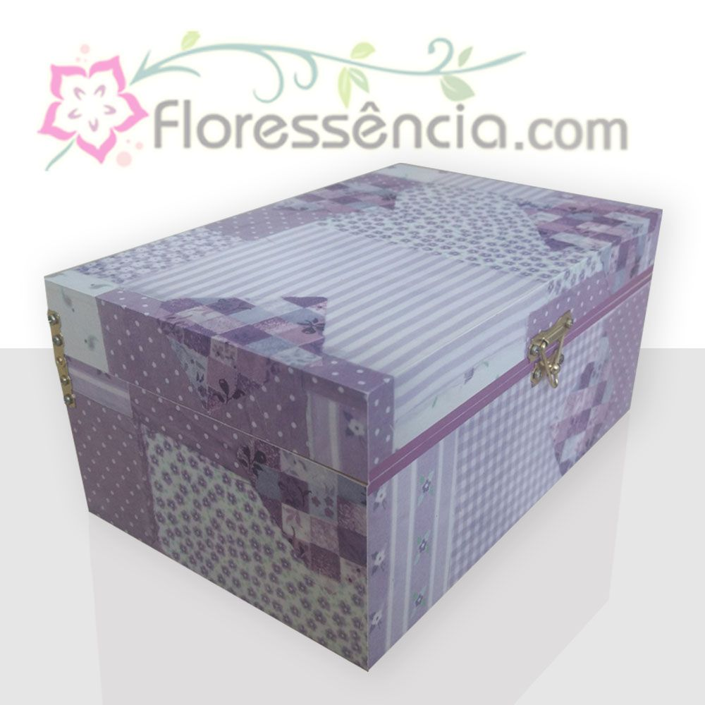 Caixa em MDF para 40 Florais - Estampa Patchwork Lilás  - Floressência
