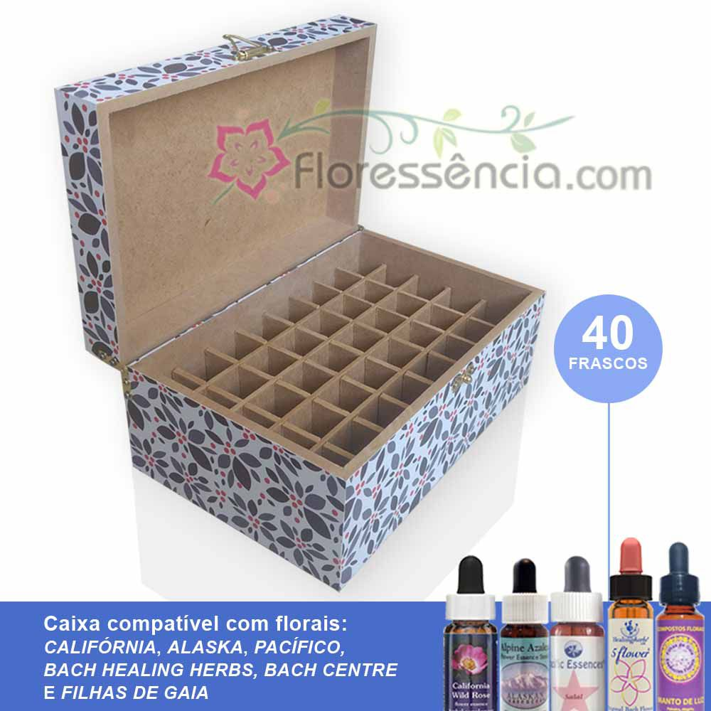 Caixa em MDF - 40 Florais - Para florais da Califórnia, Alaska, Pacífico, Bach Healing/Centre e Filhas de Gaia  - Floressência