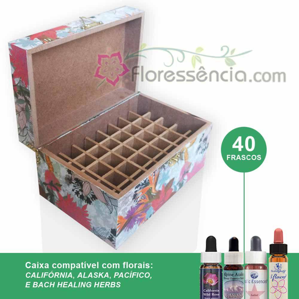 Caixa em MDF para 40 Florais - Para florais da Califórnia, Alaska, Pacífico e Bach Healing Herbs  - Floressência