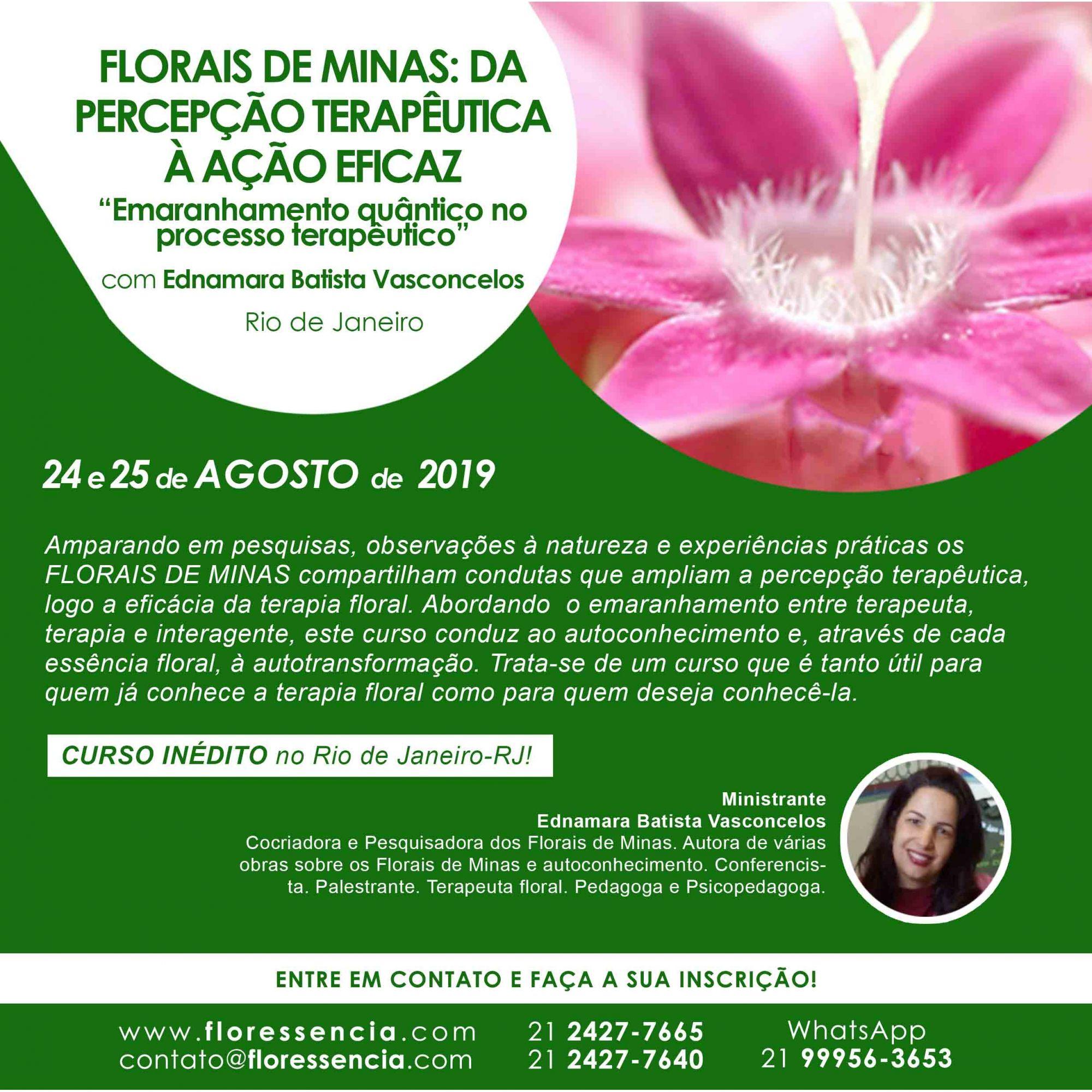 Curso PRESENCIAL FLORAIS DE MINAS: DA PERCEPÇÃO TERAPÊUTICA À AÇÃO EFICAZ com Ednamara Batista Vasconcelos  - Floressência