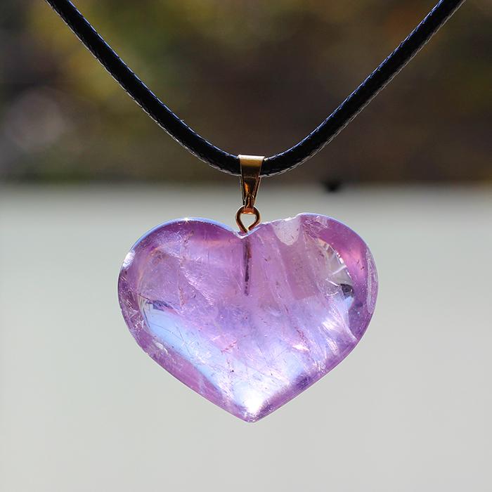 Difusor Colar Coração de Cristal Ametista