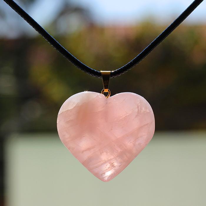 Difusor Colar Coração de Cristal Quartzo Rosa
