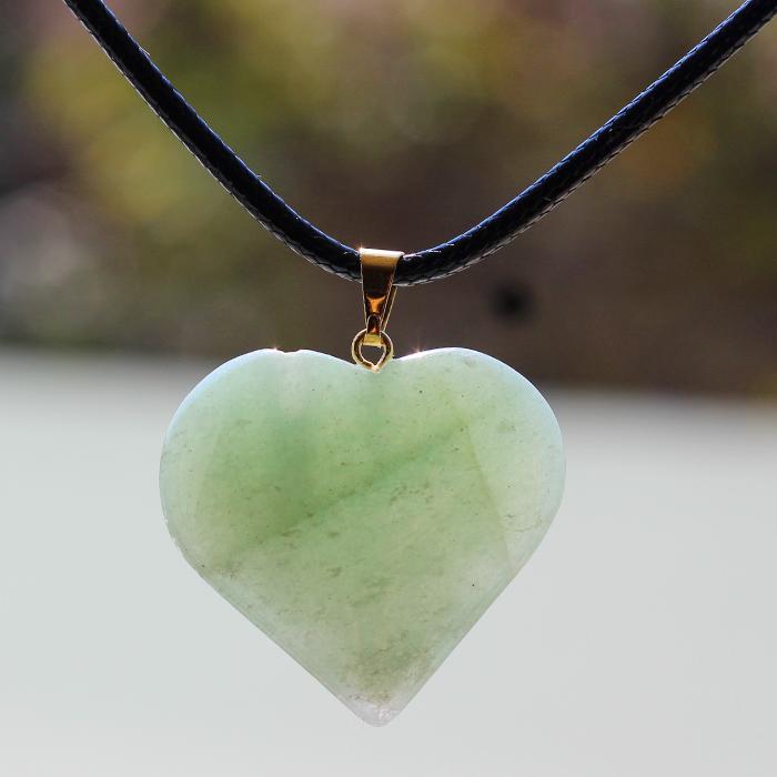 Difusor Colar Coração de Cristal Quartzo Verde
