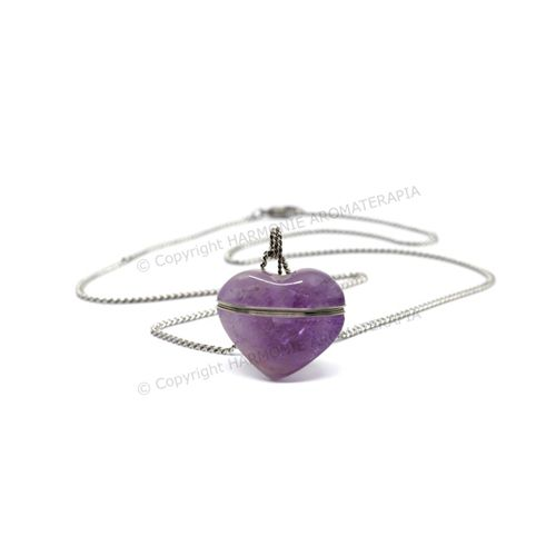 Difusor Pedra Coração Ametista Aço Inox  - Floressência