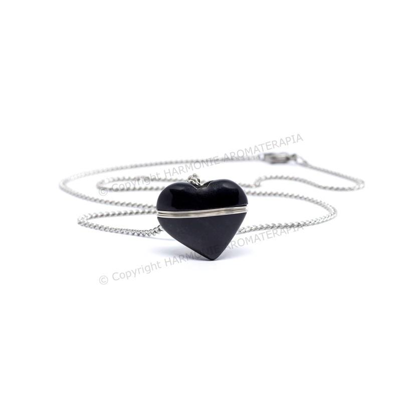 Difusor Pedra Coração Obsidiana Aço Inox  - Floressência