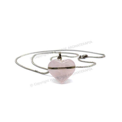 Difusor Pedra Coração Quartzo Rosa Aço Inox  - Floressência
