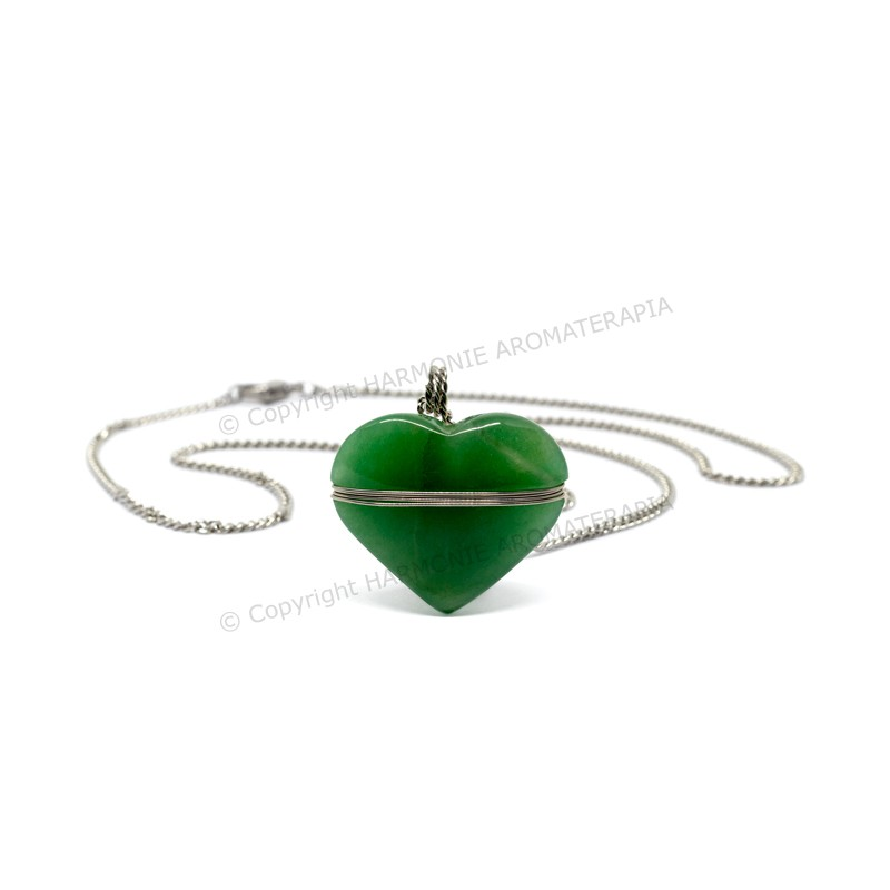 Difusor Pedra Coração Quartzo Verde Aço Inox  - Floressência