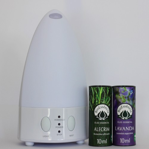 Kit Difusor de Aromas WHITE 5 em 1 - Hathas + Óleo Essencial Lavanda e Alecrim  - Floressência