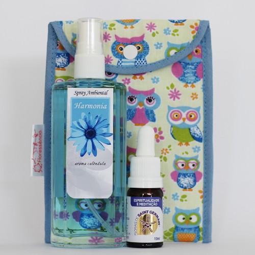 Kit Harmonia  - Spray Ambiental + Floral Espiritualidade e Meditação + Bolsinha  - Floressência