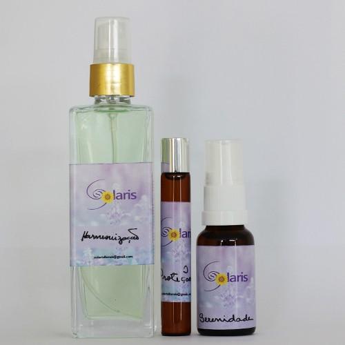Kit Harmonização, Proteção e Serenidade (Spray Ambiental, Roll-on p/ pele e Spray Oral) - Solaris   - Floressência