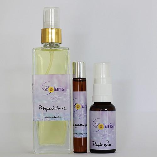 Kit Prosperidade, Segurança e Proteção (Spray Ambiental, Roll-on p/ pele e Spray Oral) - Solaris   - Floressência