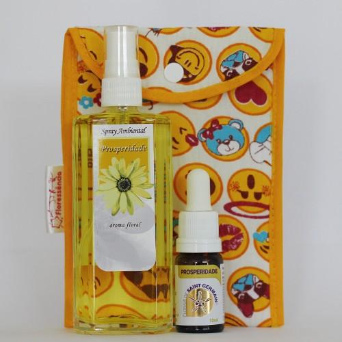 Kit Prosperidade  - Spray Ambiental + Floral Prosperidade + Bolsinha  - Floressência