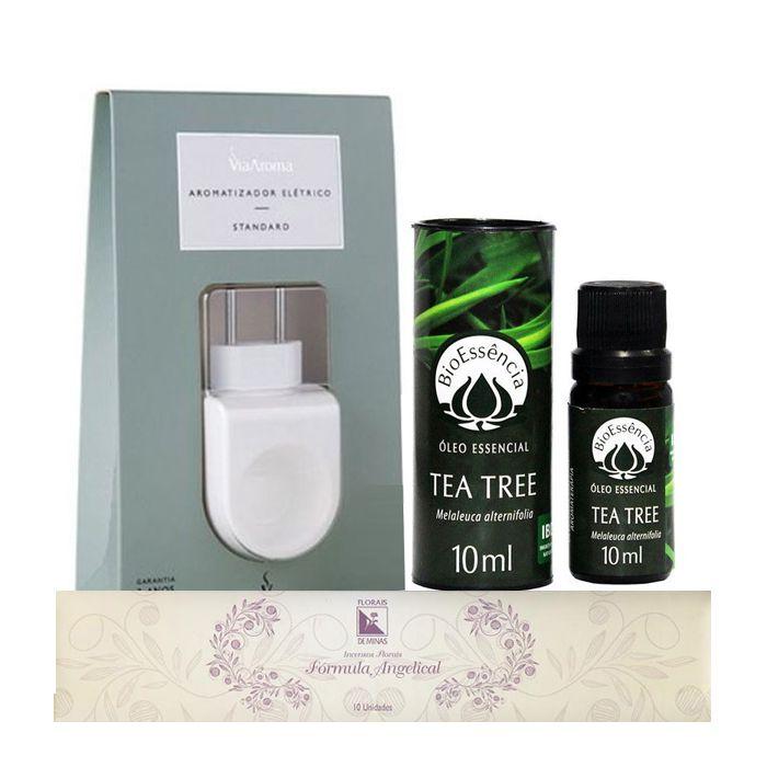 Kit Purificação  - Aromatizador + Óleo Essencial Tea Tree + Incenso  - Floressência