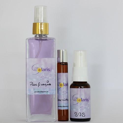 Kit Purificação, Serenidade e SOS - Emergência (Spray Ambiental, Roll-on p/ pele e Spray Oral) - Solaris   - Floressência