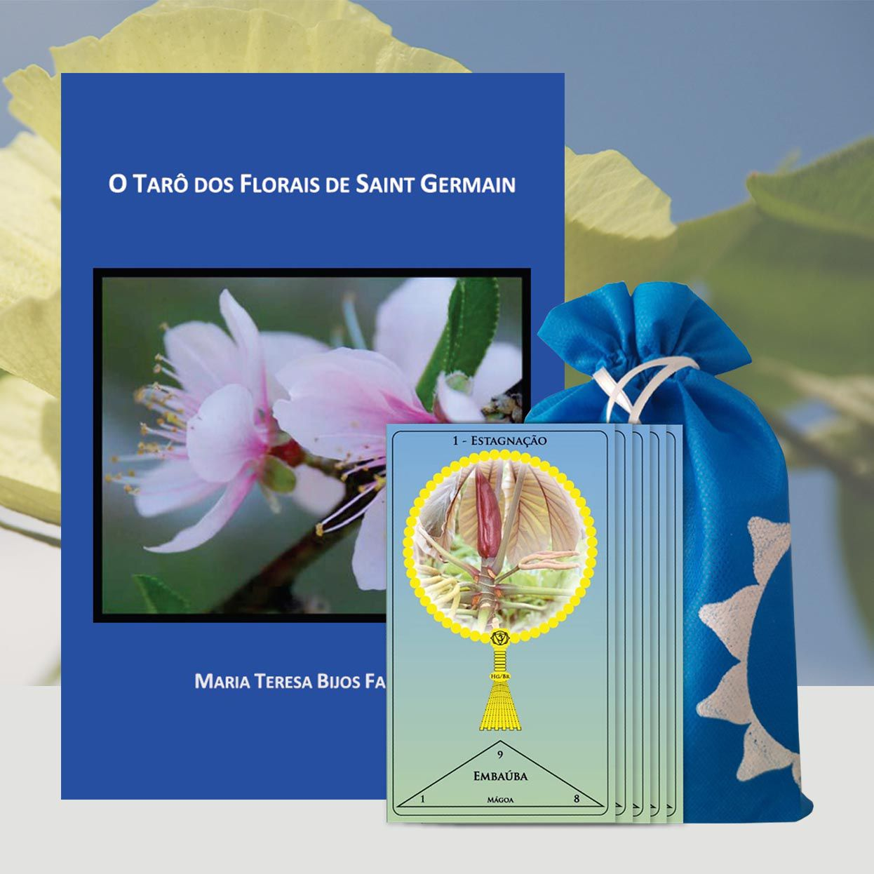 Livro e Cartas O Tarô dos Florais de Saint Germain - Maria Teresa Bijos Faidiga  - Floressência