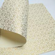 Papel Adamascado - Marfim com Dourado - Tam. A3 - 180g/m²