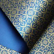 Papel Adamascado - Pérola Azul escuro  com dourado - Tam. A4 - 180g/m²