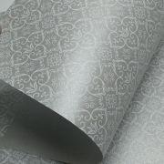Papel Adamascado - Pérola Prata com Branco - Tam. 47x65cm - 180g/m²