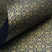 Papel Adamascado - Preto com Dourado - Tam. A4 - 180g/m²