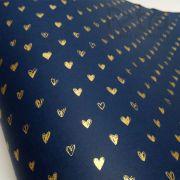 Papel Coração Ref 01 - Azul Escuro com Dourado - Tam. 47x65cm - 180g/m²