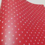 Papel Coração Ref 01 - Pérola Vermelho com Branco - Tam. 30,5x30,5cm - 180g/m²
