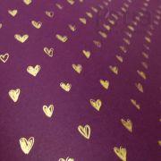 Papel Coração  Ref 01 - Roxo com Dourado - Tam. 30,5x30,5 - 180g/m²