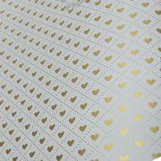 Papel Coração Ref 02 - Branco com Dourado - Tam. 32x65cm - 180g/m²