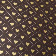 Papel Coração Ref 02 - Marrom com Dourado - Tam. 32x65cm - 180g/m²