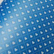 Papel Coração Ref 02 - Pérola Azul com Branco - Tam. 30,5x30,5cm - 180g/m²